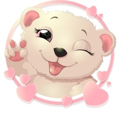 Bear surrounded by hearts vector