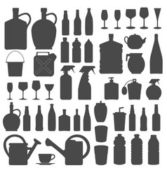 Beverage bottle and glass icons silhouettes vect vector