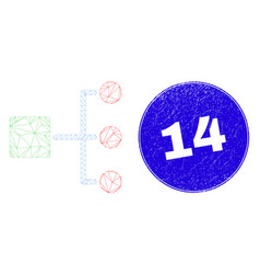 Blue distress 14 stamp and web carcass hierarchy vector