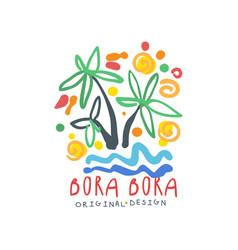 Bora bora island logo template original design vector