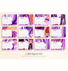 calendar design for 2019 set of 12 calendar pages vector image