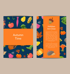 cartoon autumn leaves card or flyer vector image
