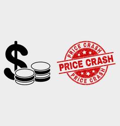 cash icon and distress price crash seal vector image