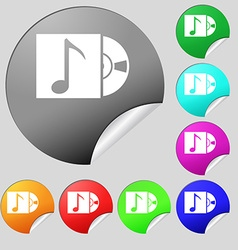 Cd player icon sign Set of eight multi colored vector