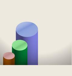 Chart columns multicolored white background vector