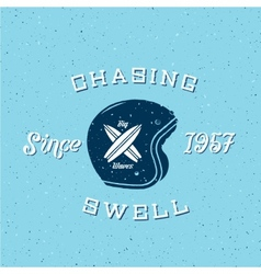 Chasing Swell Abstract Retro Surfers Label vector