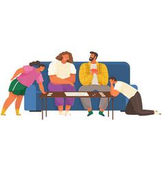 cheerful family plays cards joyful parents vector image