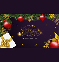 christmas and happy new year card of gifts and vector image