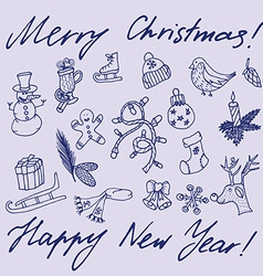 Christmas sketch Congratulations with New year in vector image
