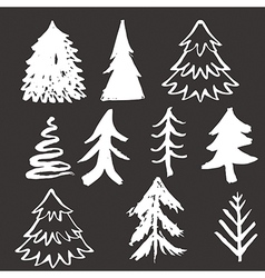 Christmas tree hand drawn vector image