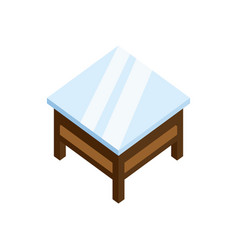 Classic wood square coffee table 3d isometric vector