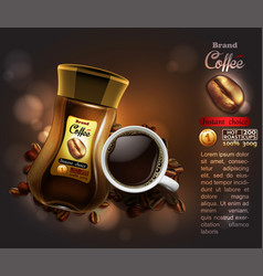 Coffee advertising design high detailed realistic vector