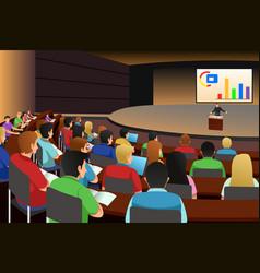 college students listening to professor in vector image