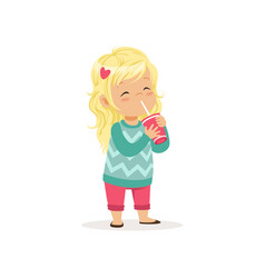 Colorful of cute blond girl with cup vector