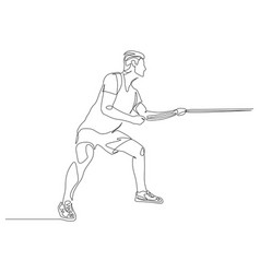 continuous one line man pulls a rope tug war vector image