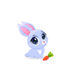 Cute bunny with carrot isolated on white clipart vector