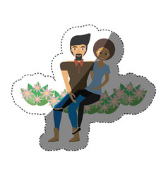 cute couple sitting flowers decoration shadow vector image