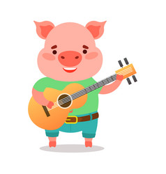 cute pink piglet in green t-shirt playing guitar vector image