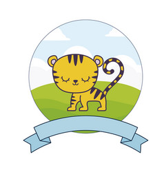 Cute tiger in landscape with frame and ribbon vector