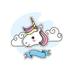 Cute unicorn head with clouds and ribbon design vector