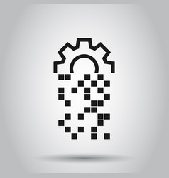 Digital gear icon in flat style cog on isolated vector