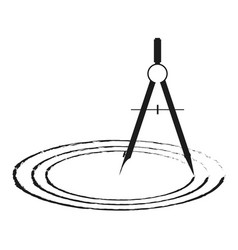 drawing compasses and drawn circles vector image