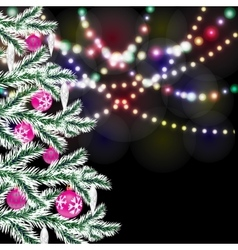 Fancy Christmas tree Bright festive lights vector