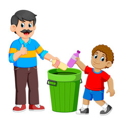 Father and his son collecting rubbish plastic vector