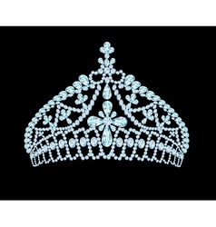Feminine wedding tiara crown with light stone vector
