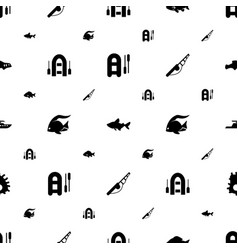 Fishing icons pattern seamless white background vector