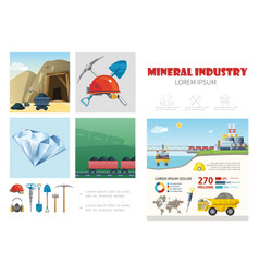 flat mining industry infographic template vector image