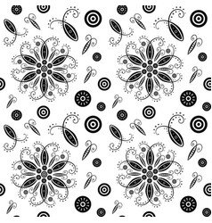 flower abstract seamless pattern black and white vector image