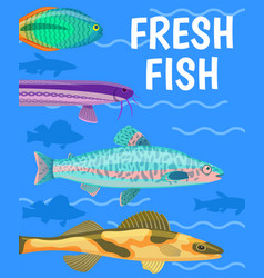 fresh fish in blue water color vector image