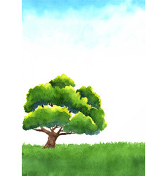Giant tree on green meadow with sky background vector