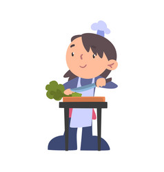 Girl chef cutting greens on wooden board cute vector