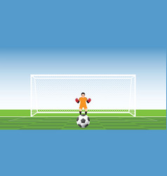 goalkeeper ready to catch soccer ball at penalty vector image