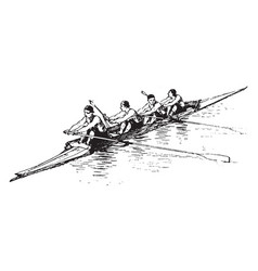 Group rowing vintage vector