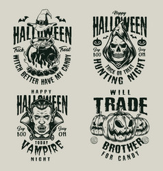 halloween vintage scary labels vector image