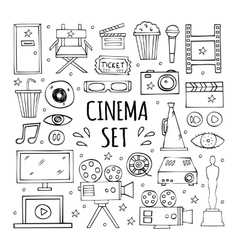 hand drawn elements to create a logo cinema vector image