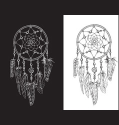 hand drawn ornate dreamcatchers with feathers vector image