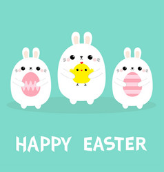 Happy easter bunny holding chicken bird painting vector