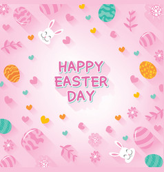 happy easter day background with easter flat icons vector image