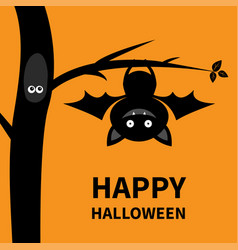 Happy halloween hanging on tree cute cartoon vector