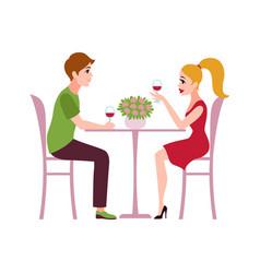 happy romantic couple in restaurant man vector image