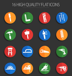 Joinery 16 flat icons vector