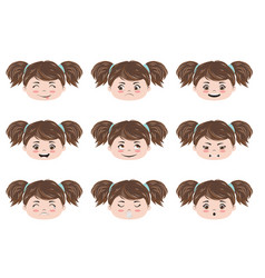 kawaii girl head emotions vector image