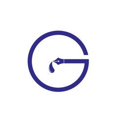 Letter g ink pen writer logo vector