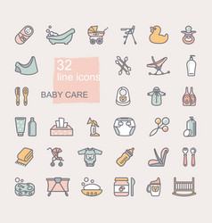 linear icons on theme child care feeding vector image