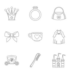 Little princess icon set outline style vector