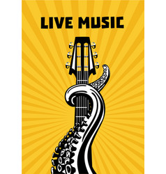 Live music octopus tentacles with guitar musical vector